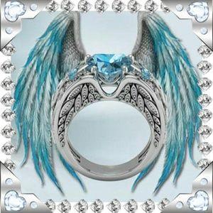 Jewelry - ANGEL WING AQUA BLUE HEART STATEMENT RING SIZE 11